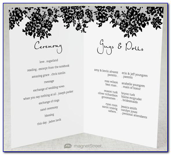 Traditional Wedding Program Examples