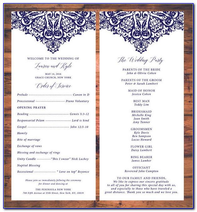 Traditional Wedding Program Ideas