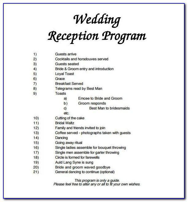 Traditional Wedding Program Sample