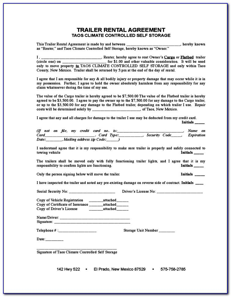Trailer Lease Agreement Template Free