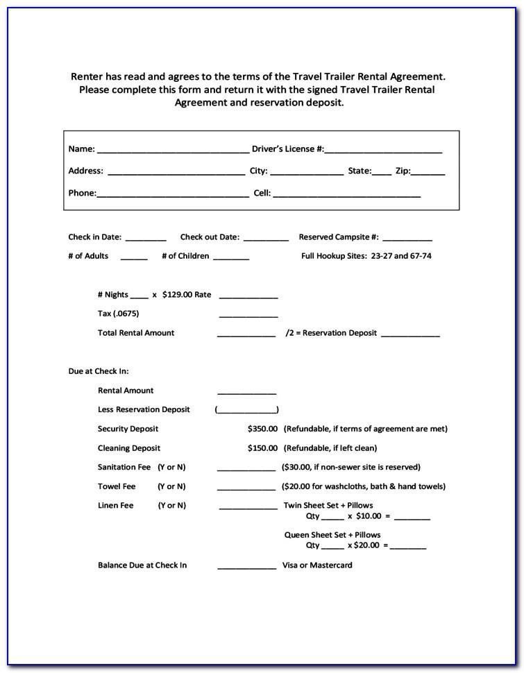 Trailer Rental Agreement Sample