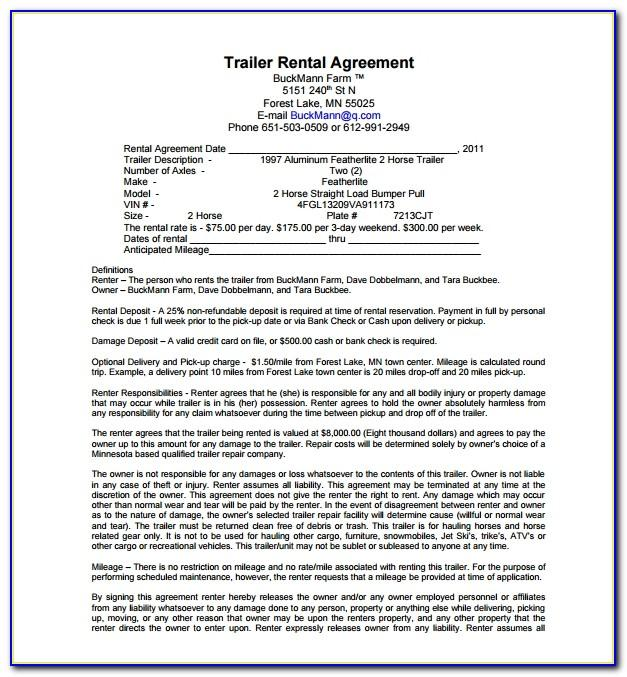 Trailer Rental Agreement Template Free