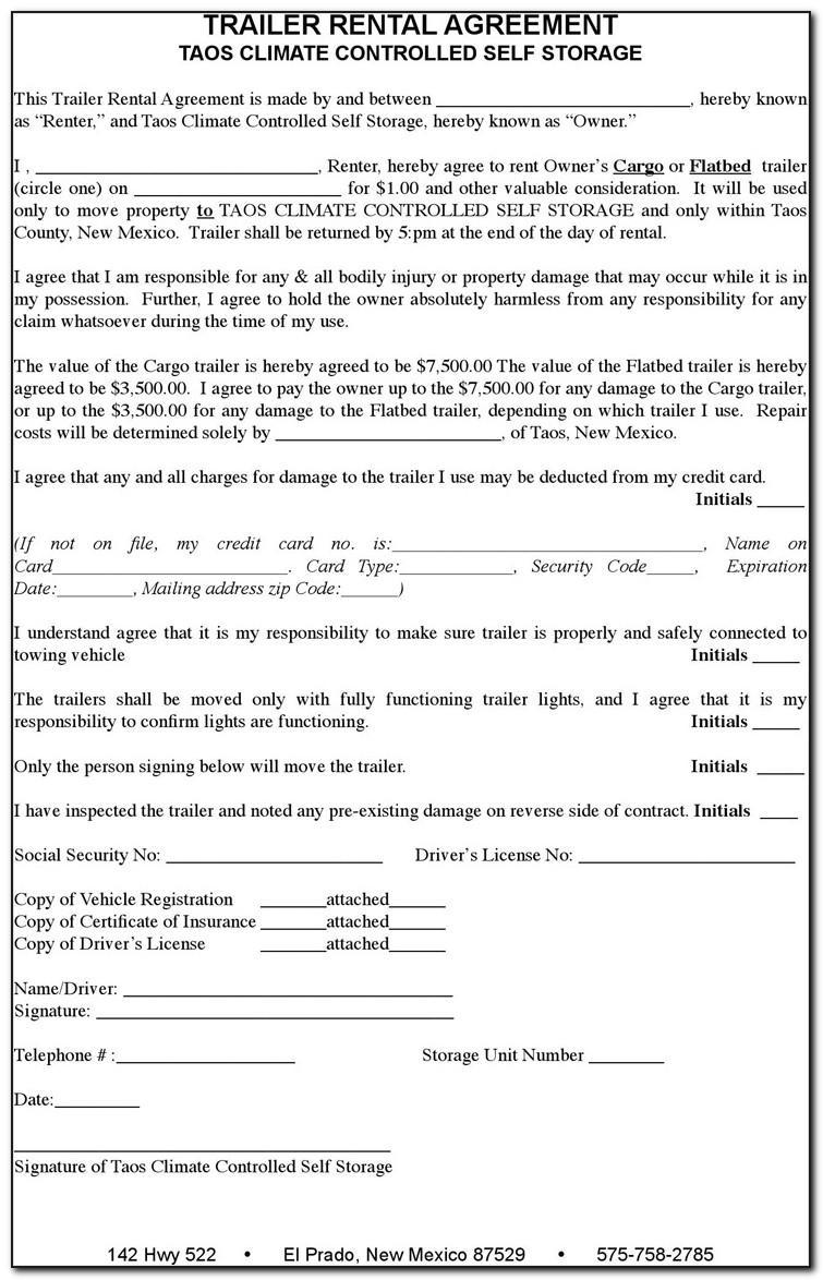 Trailer Rental Agreement Template