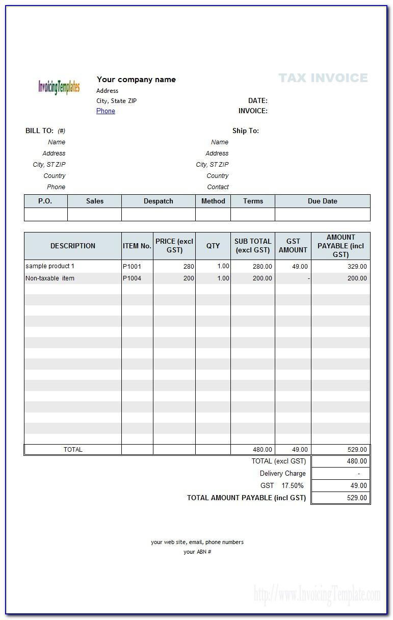 Transfer Invoice Template Quickbooks