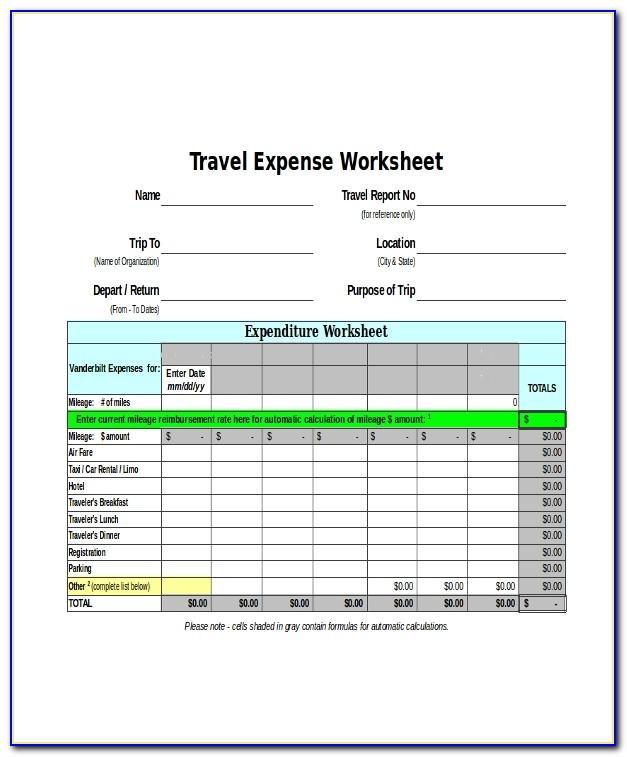 Travel Expense Claim Template