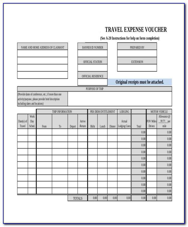 Travel Expense Template Microsoft