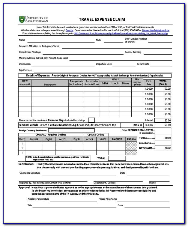 Travel Expenses Claim Form Template Uk