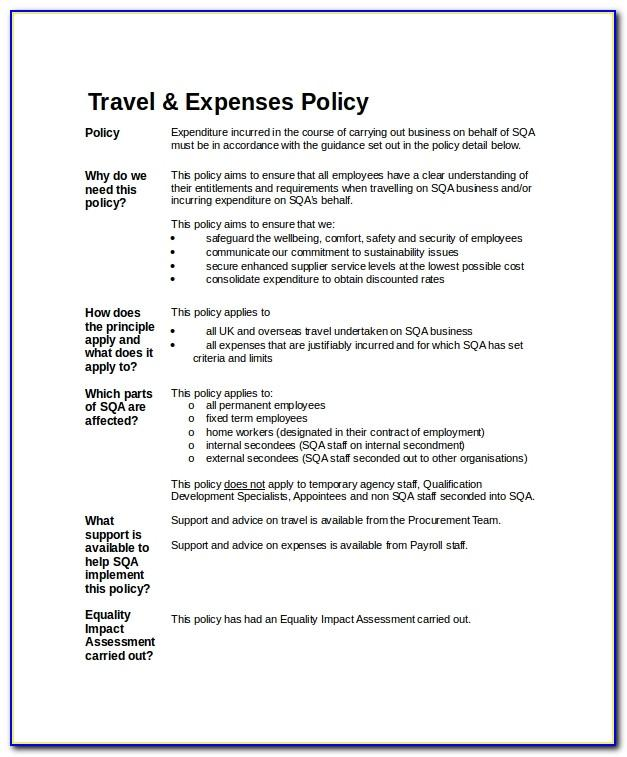 Travel Expenses Letter Template