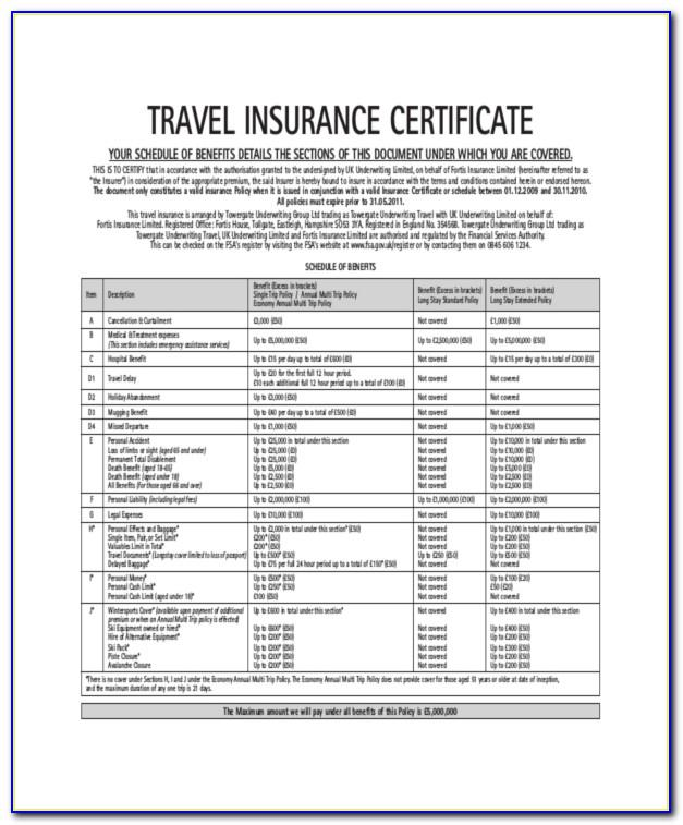 Travel Insurance Certificate Template