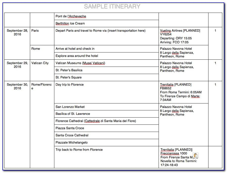 Travel Itinerary Template For Ipad
