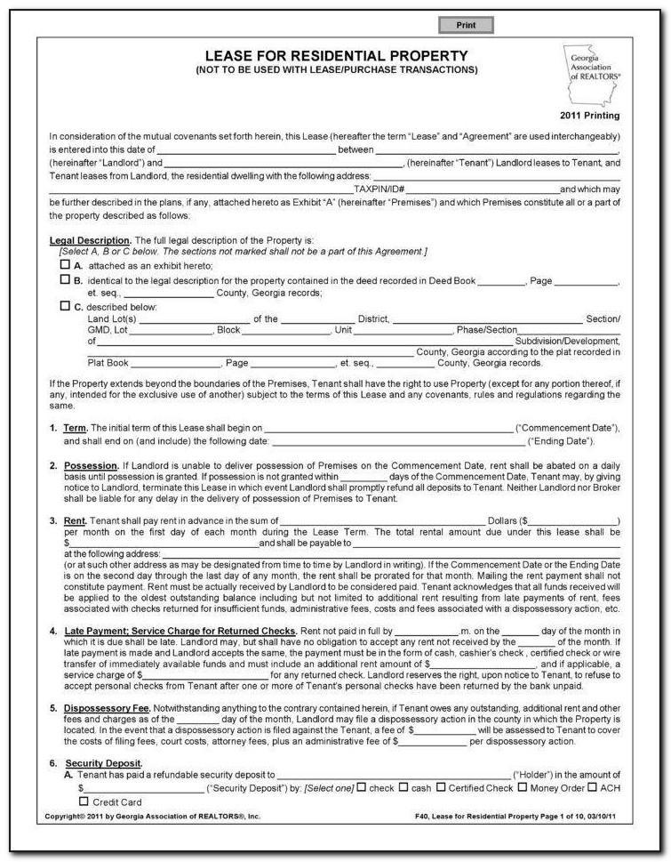 Triple Net Lease Form Word Document
