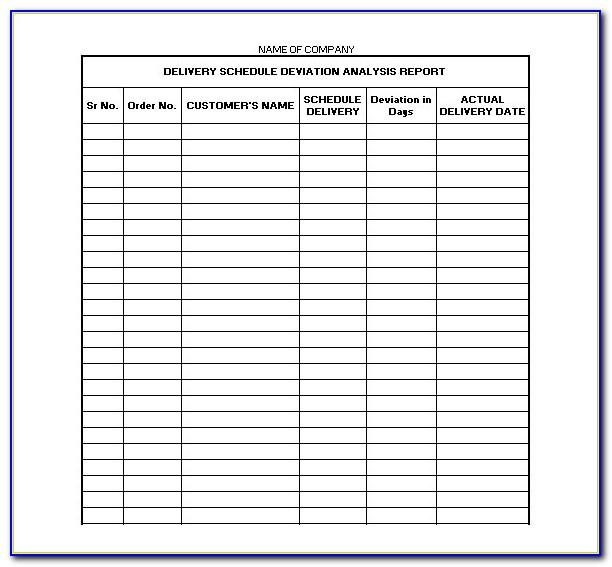 Truck Delivery Schedule Template Excel
