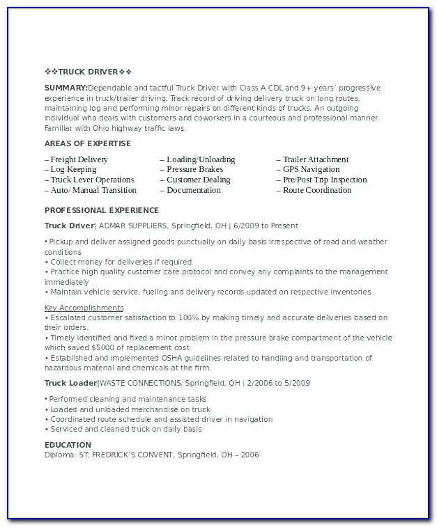 Truck Driver Resume Sample Canada