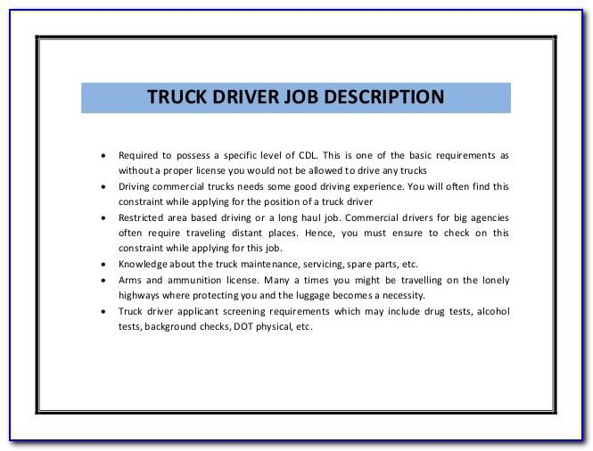 Truck Driver Resume Sample No Experience