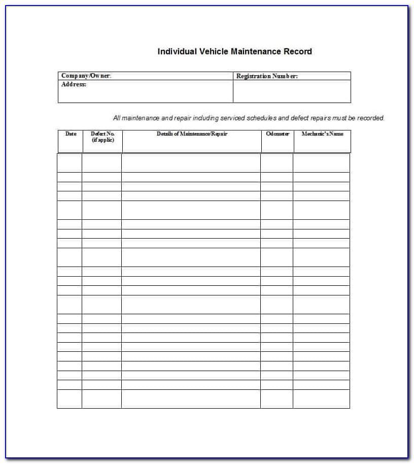 Truck Maintenance Schedule Template Excel