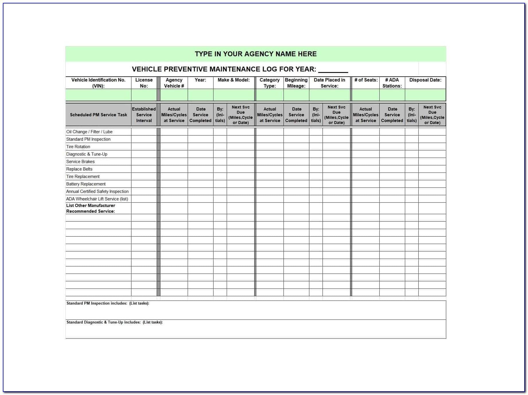 Truck Maintenance Schedule Template