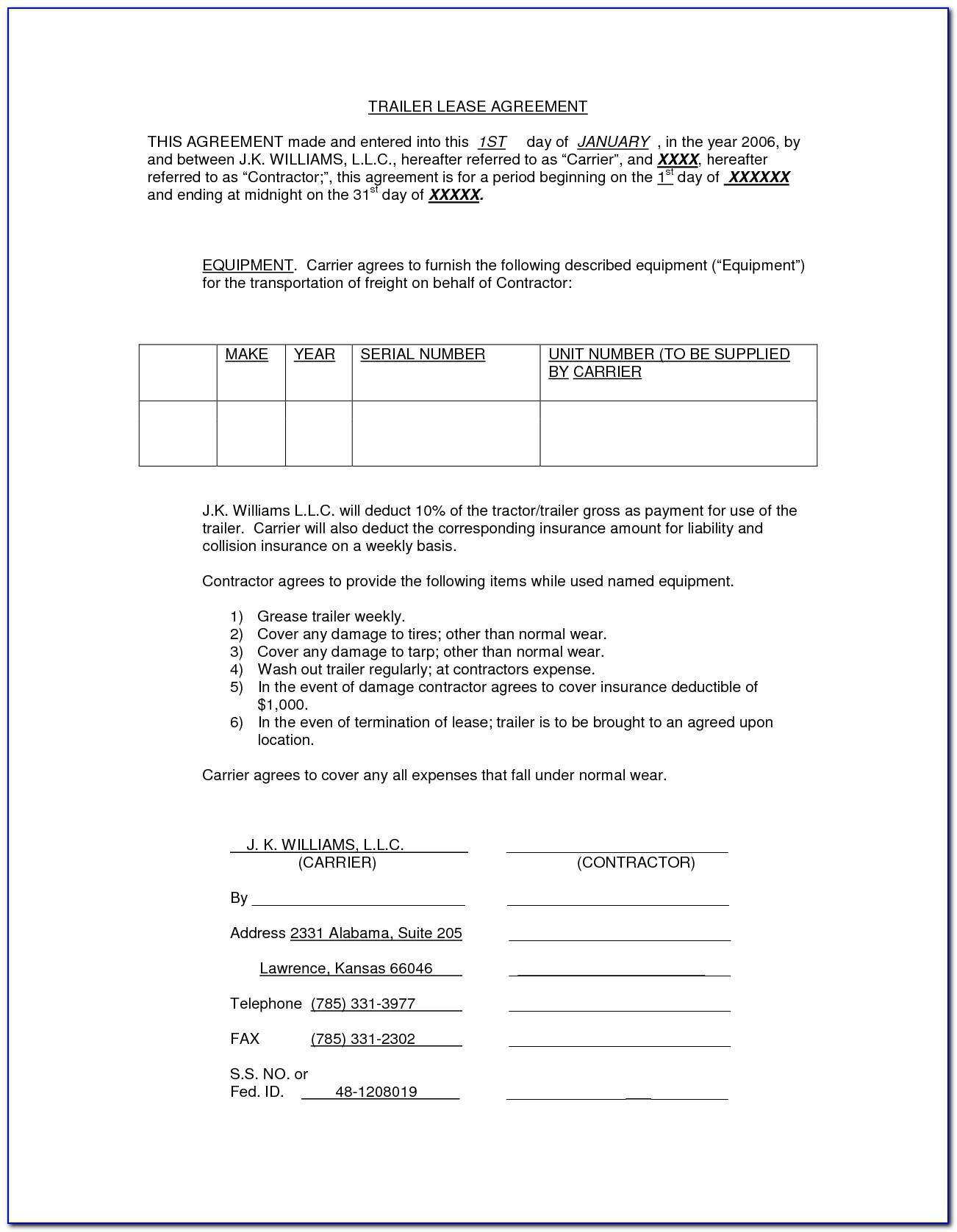 Truck Trailer Rental Agreement Form