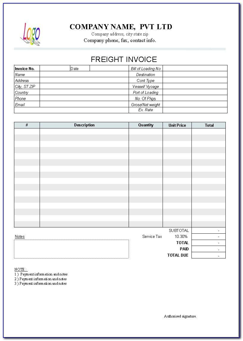 Trucking Company Invoice Sample