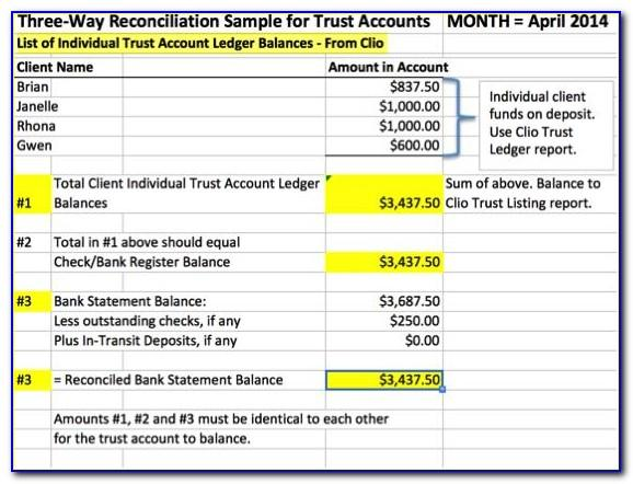 Trust Account Reconciliation Sample
