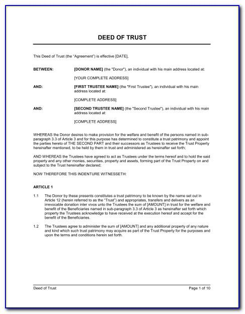 Trust Deed Document Uk