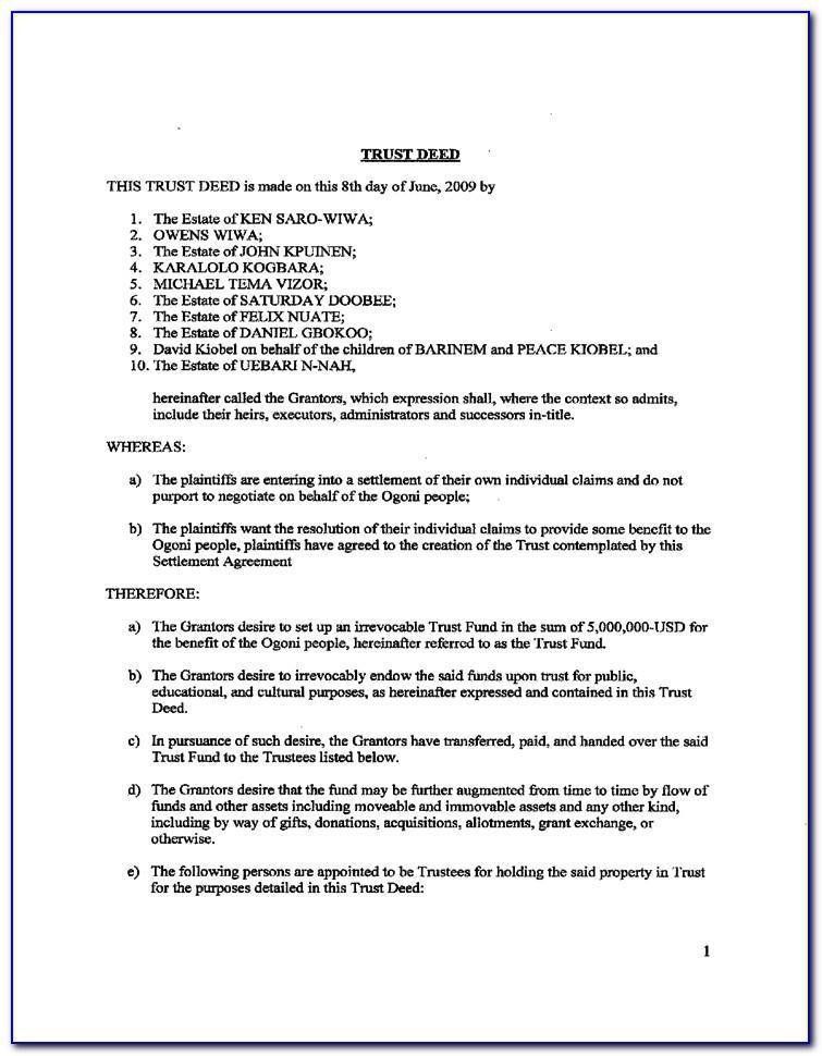 Trust Deed Format India