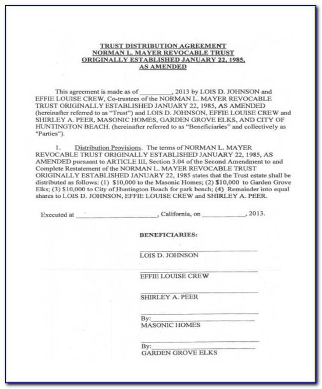 Trust Distribution Statement Sample