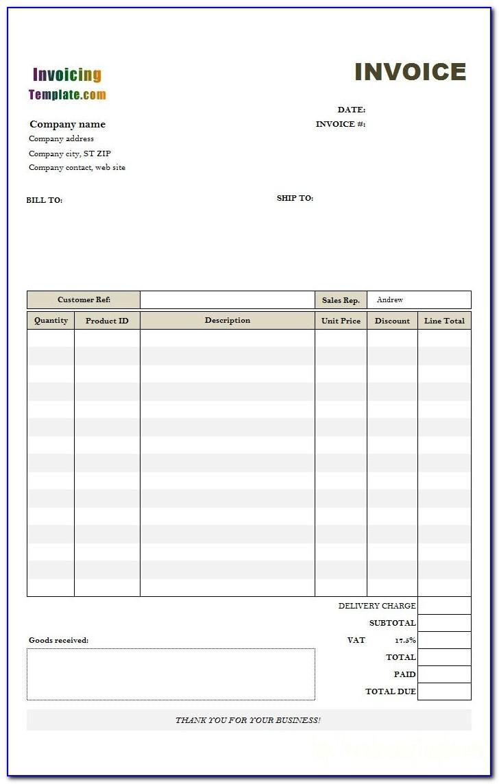 Uk Invoice Template No Vat