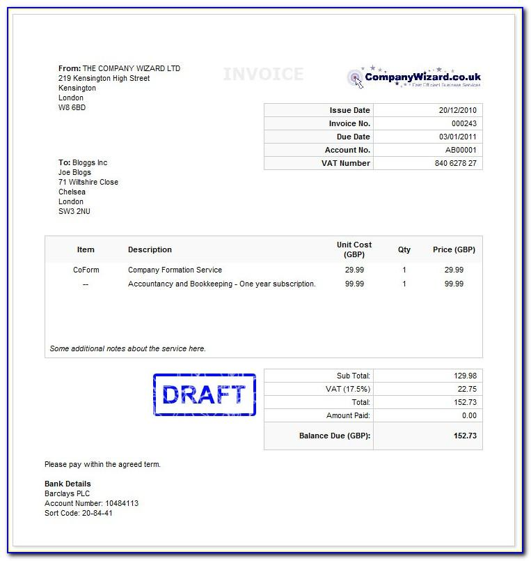 Uk Vat Invoice Template Word