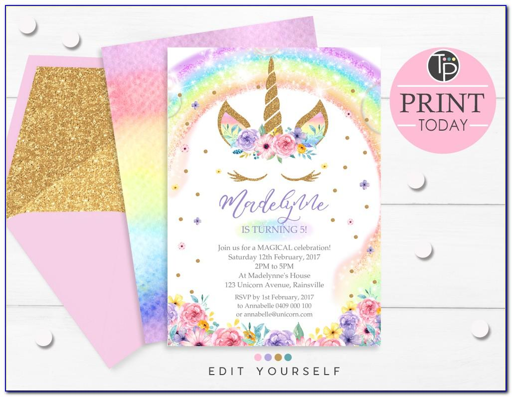 Unicorn Birthday Invitations Template Free