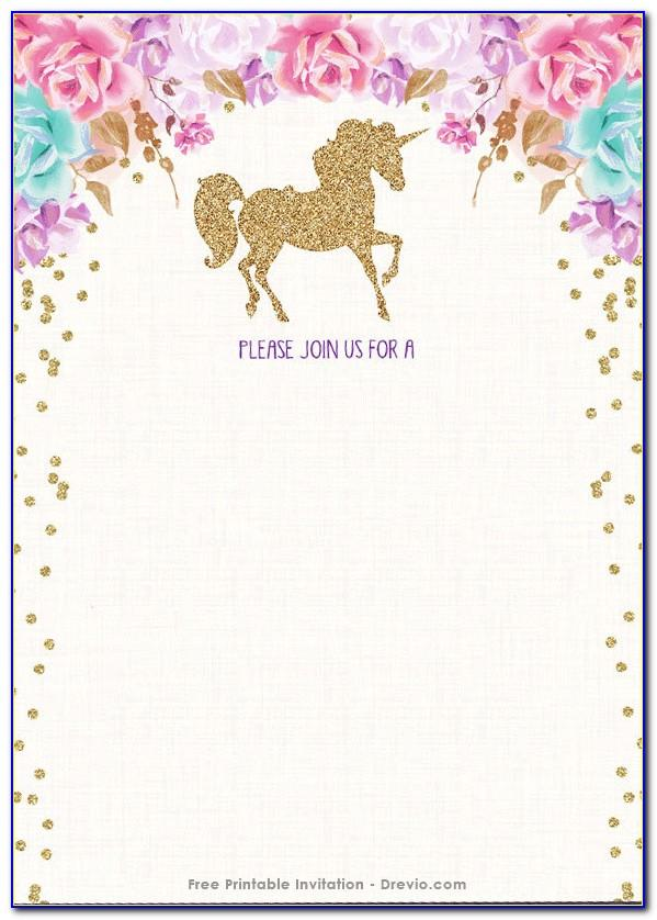 Unicorn Birthday Invitations Templates