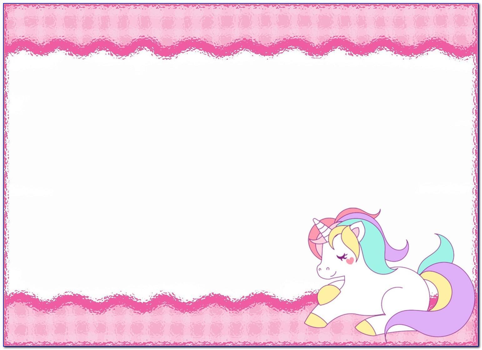 Unicorn Birthday Party Invitation Template Free