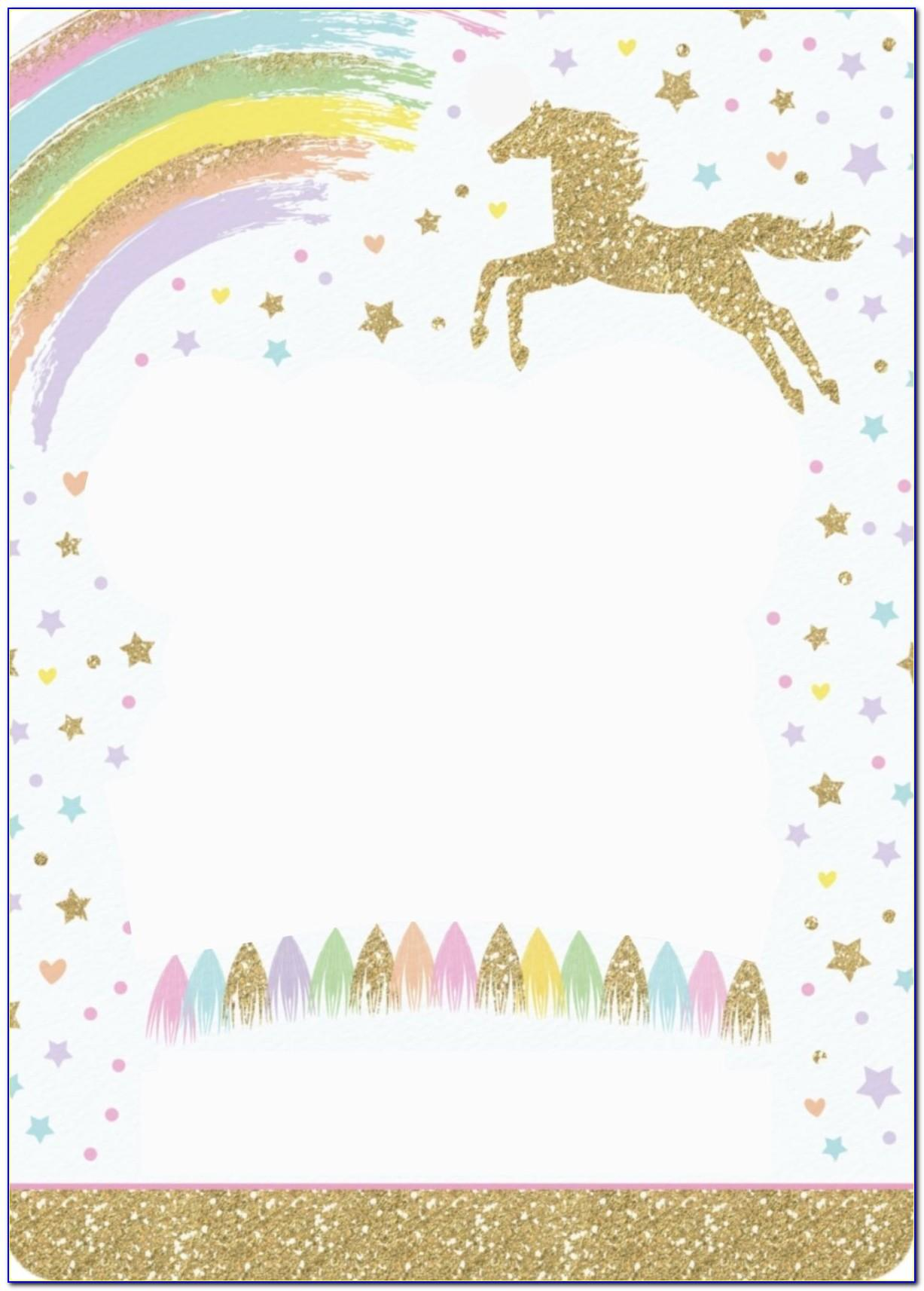 Unicorn Birthday Party Invitation Template