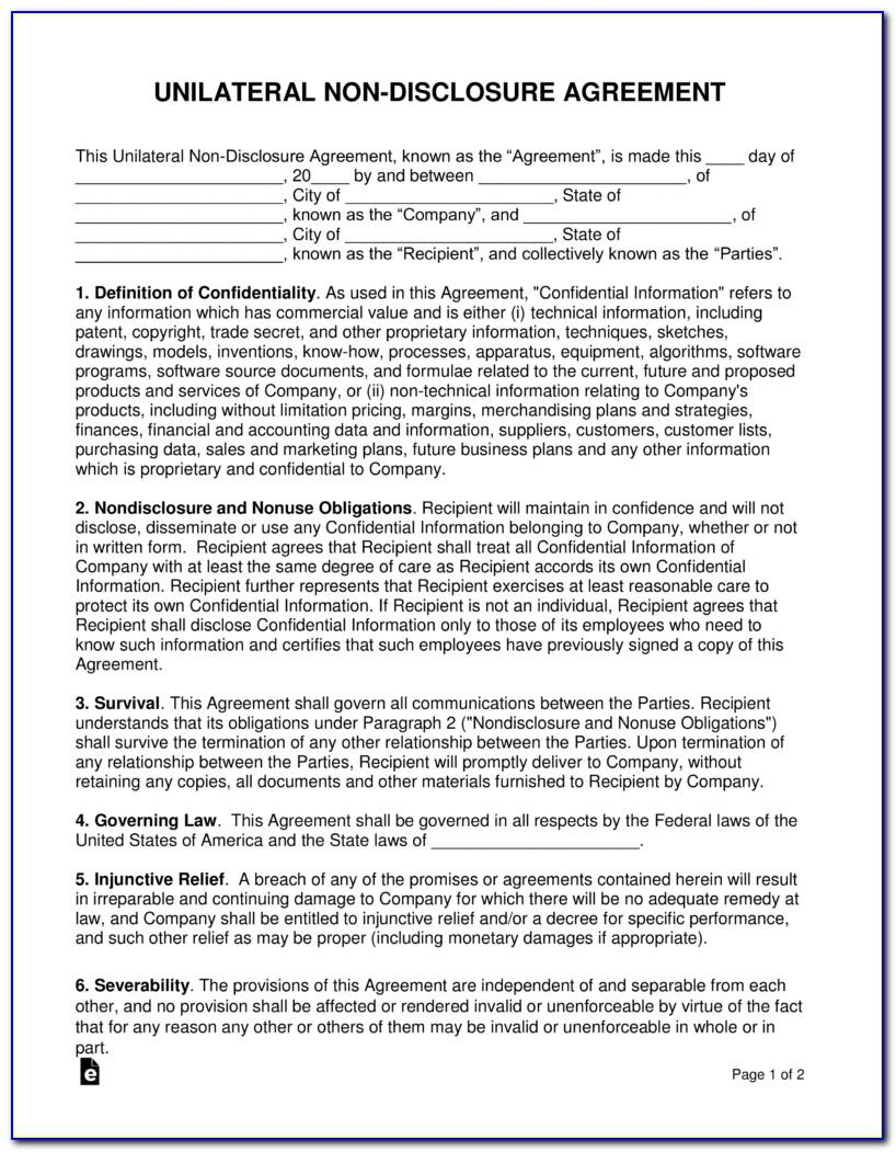 Unilateral Non Disclosure Agreement Form