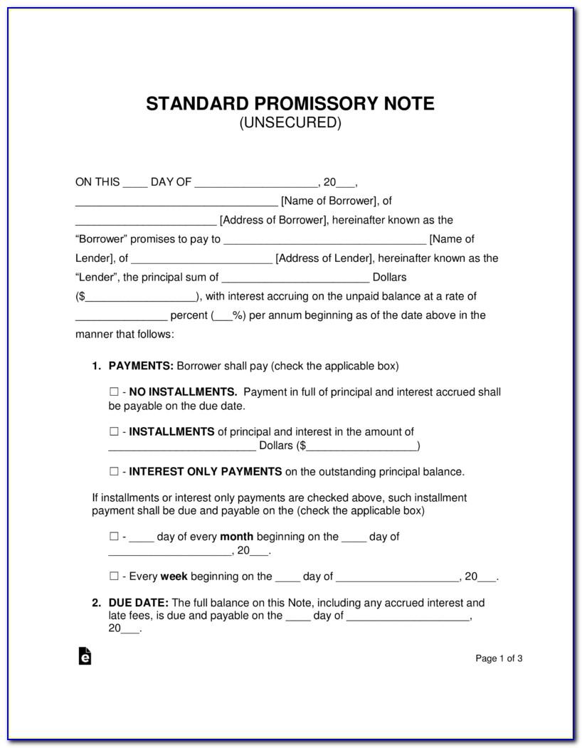 Unsecured Promissory Note Sample