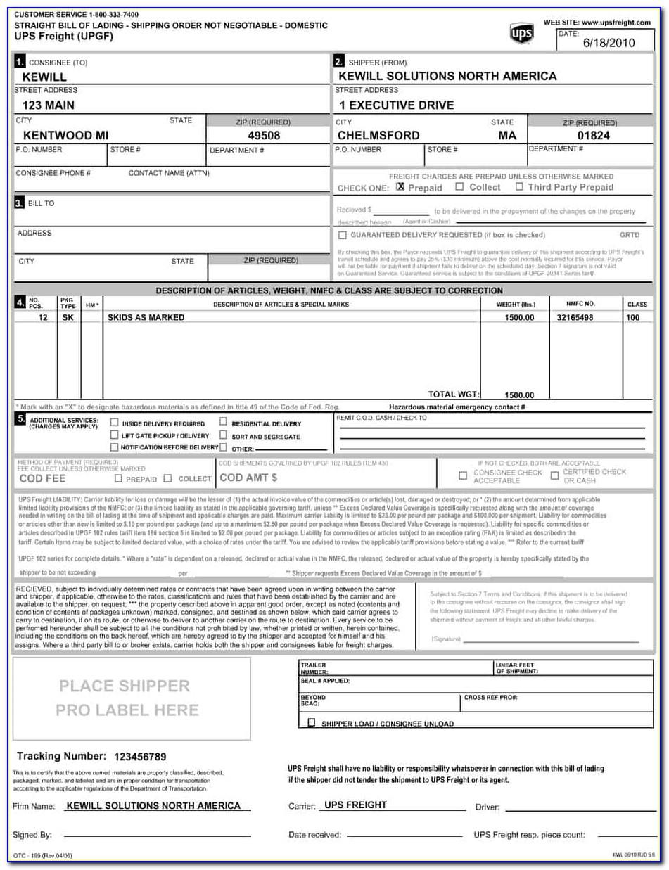 Ups Freight Bill Of Lading Form