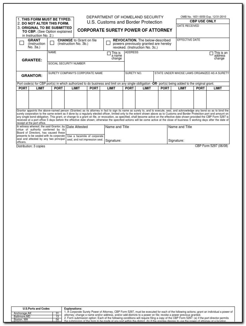 Us Customs Power Of Attorney Form 5291