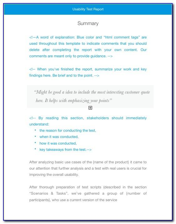 Usability Test Report Template