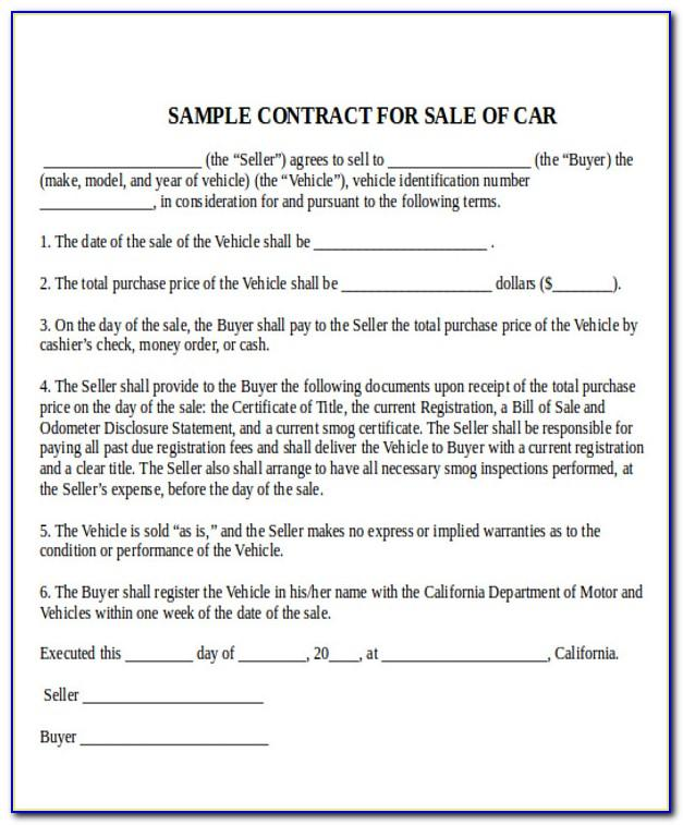 Used Car Contract Template Free