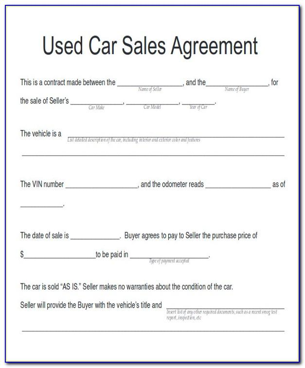 Used Car Invoice Example