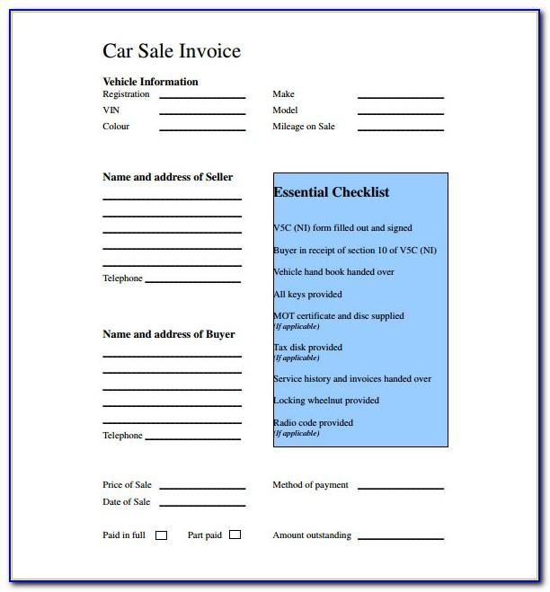 Used Car Invoice Template Pdf