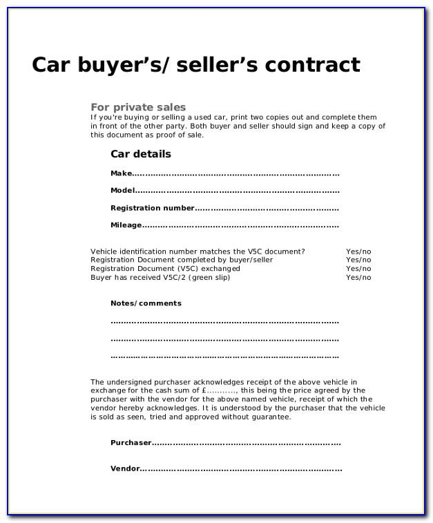 Used Car Purchase Contract Form