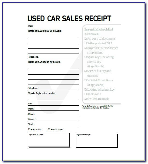 Used Car Receipt Template Australia