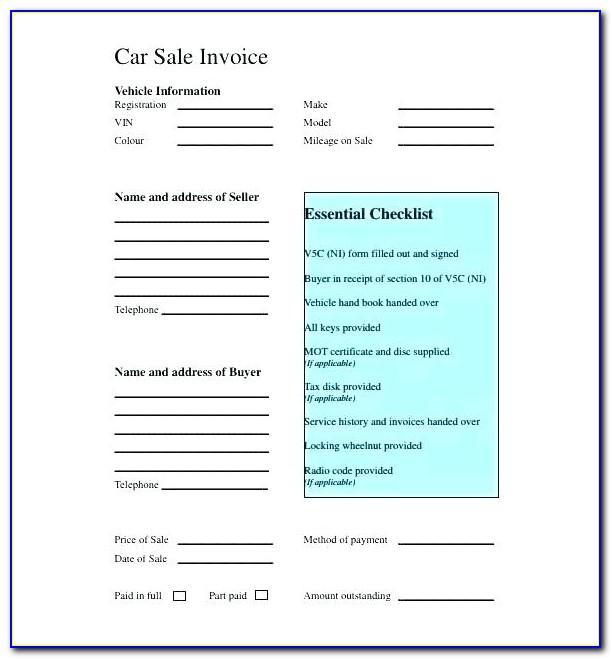 Used Car Receipt Template Victoria
