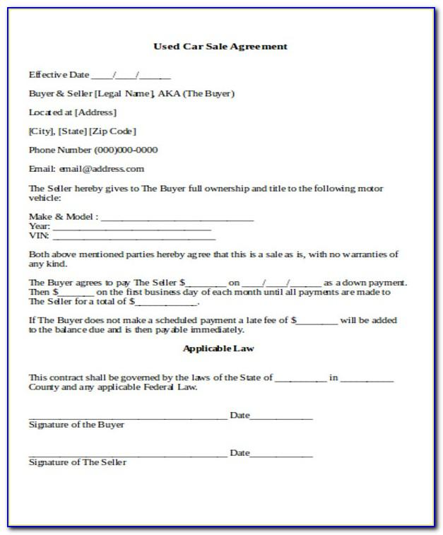 Used Car Sales Contract Form