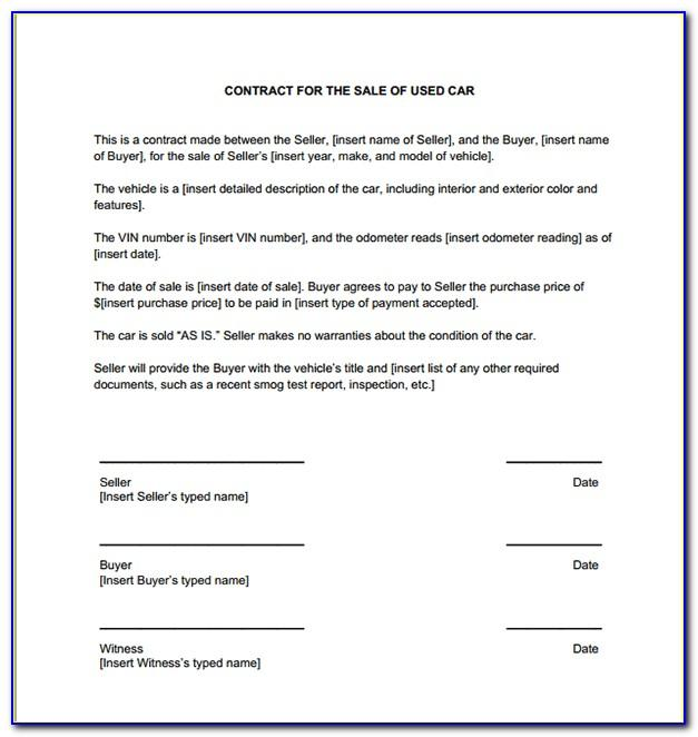 Used Car Sales Contract Template Australia