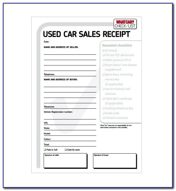 Used Car Sales Receipt Printable