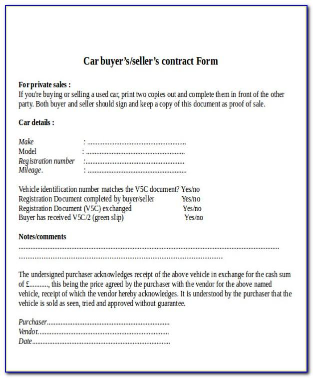 Used Car Sell Agreement Template