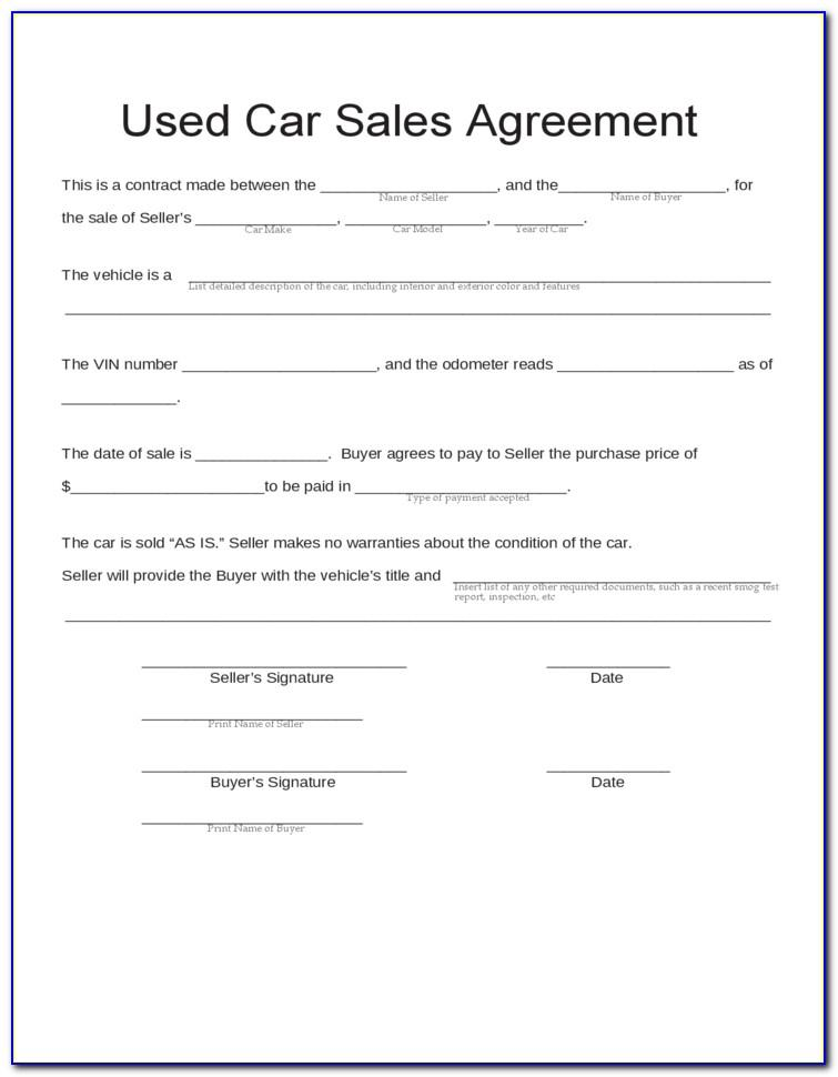 Used Car Selling Agreement Form