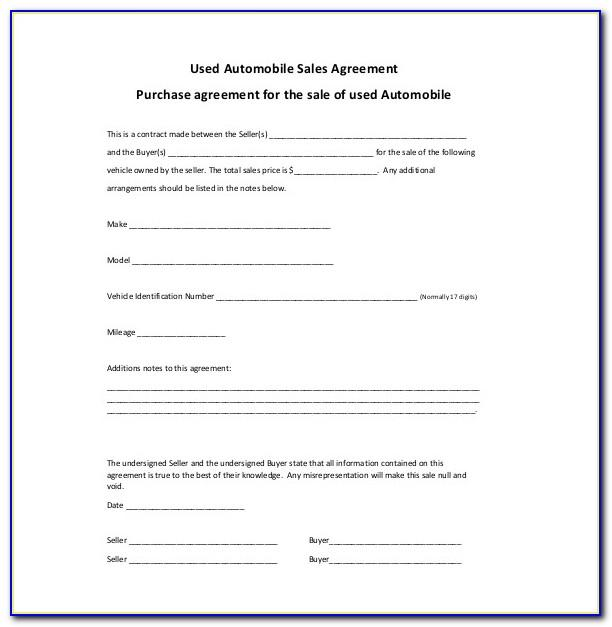 Used Car Selling Contract Sample