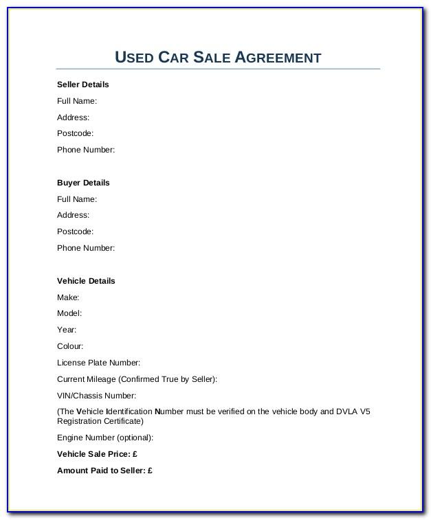 Used Vehicle Sales Receipt Template